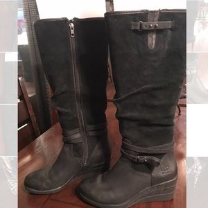 Uggs Black Wedge Boots Size 8